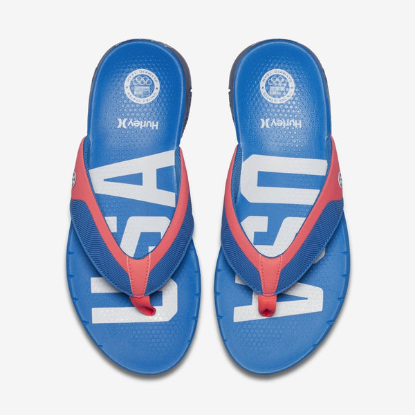 Hurley Phantom Nike Free USA Olympic Blue Men's Sandals Flip Flops Size 12
