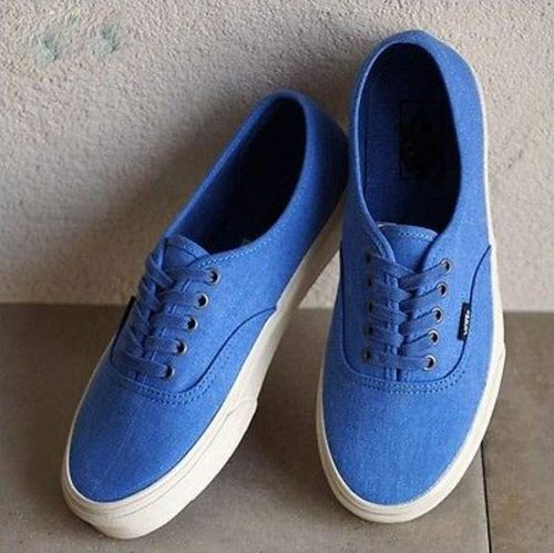 Vans Authentic Overwashed Nautical Blue/True White Men's Skate Shoes Size 10