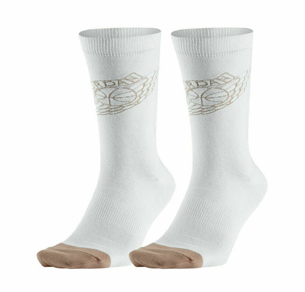 Nike Jordan 2 Men's Crew White/Tan Socks Size Large (8-12)
