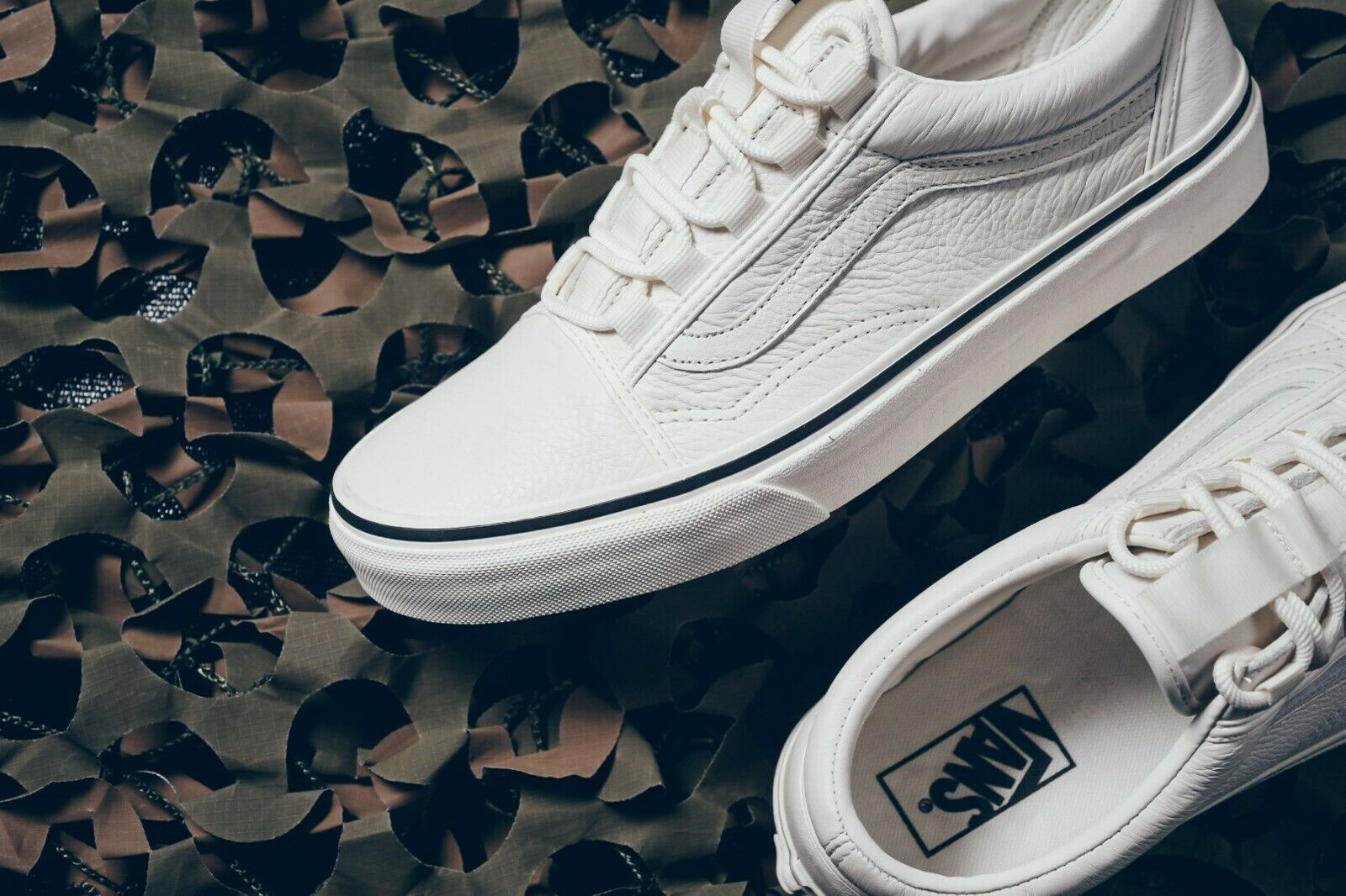 00e9b0a158b868 Vans Old Skool Ghillie Leather Marshmallow Men s Classic Skate Shoes Size 13