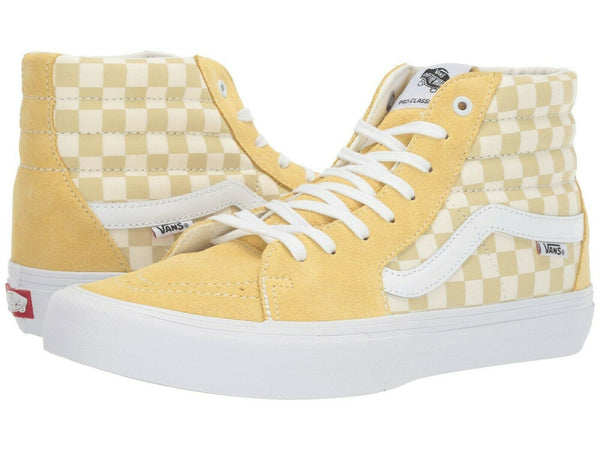 Vans SK8 Hi Pro Checkerboard Pale Banana/Marshmallow Men's Skate Shoes Size 8