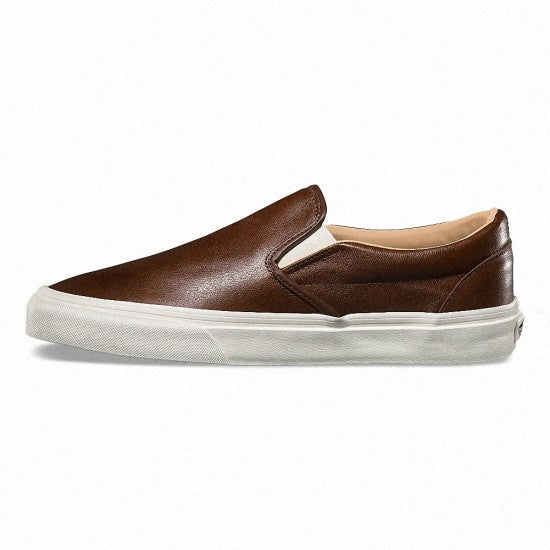 Vans Classic Slip On Lux Leather Shaved Chocolate/Brown Women's Shoes Size 8.5