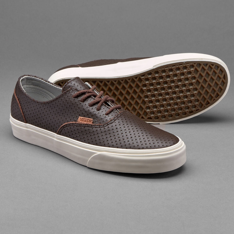 Vans Era Decon + Leather Emboss Seal Brown Men's Skate Shoes Size 8.5
