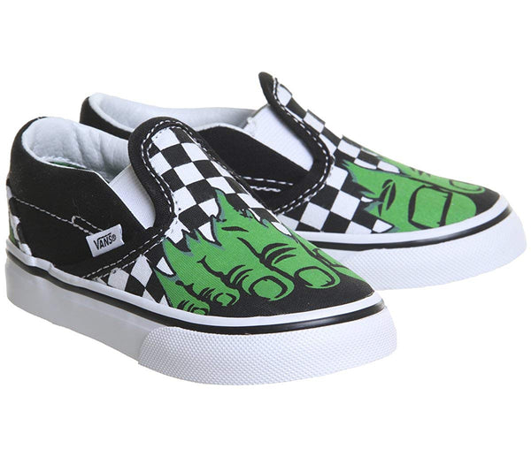 Vans Classic Slip On Marvel Hulk/Checkerboard Skate Shoes 4 Toddler