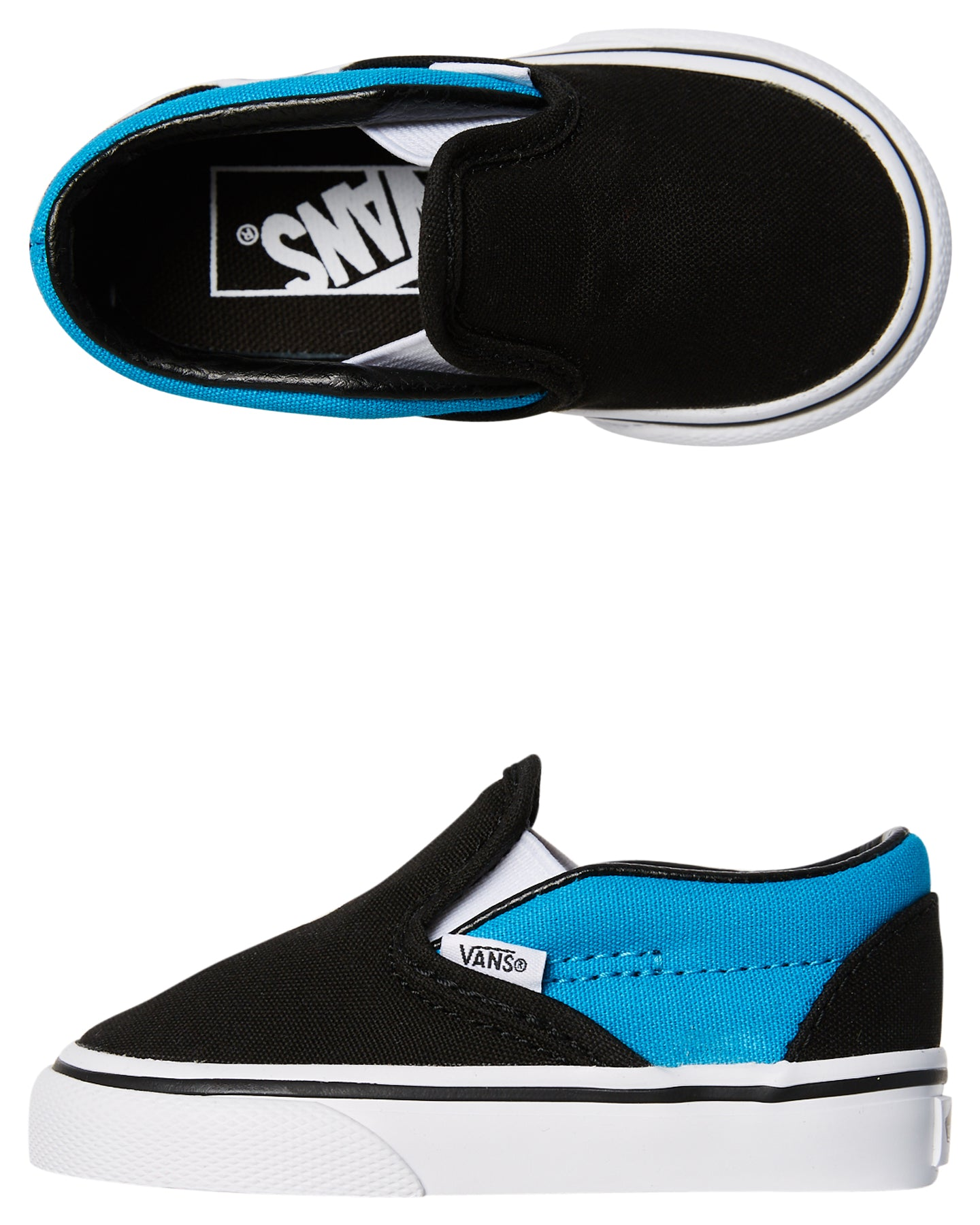 Vans Classic Slip On Black/Vivid Blue Skate Shoes Size 9 Toddler