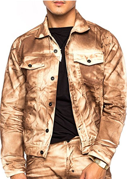 PRPS Goods & Co. Rust Crinkle Jacket, Brown Size XL
