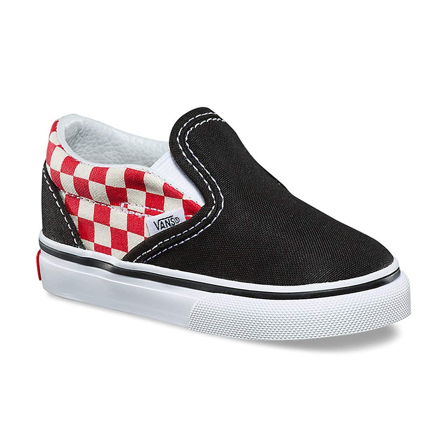 Vans Classic Slip On Checkerboard Black/Red Skate Shoes 8.5 Toddler