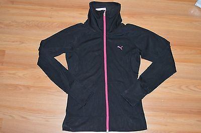Women's Puma Fitness Jacket Black/Beetroot Running Training Jacket Size S