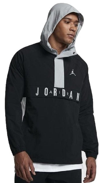 3262844ef25 Nike Air Jordan Wings Anorak Black/Gray Pullover Wind Jacket Size XL