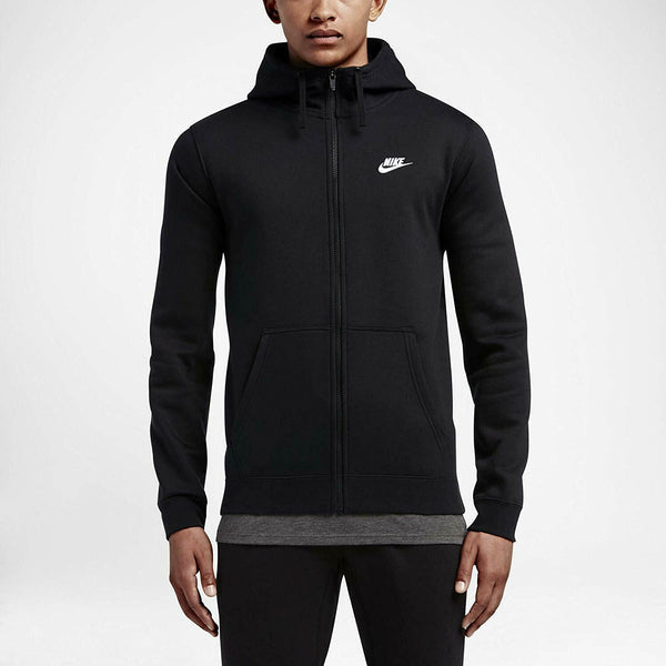 Nike Sportswear Club Men's Black/White Full Zip Hoodie Size XL