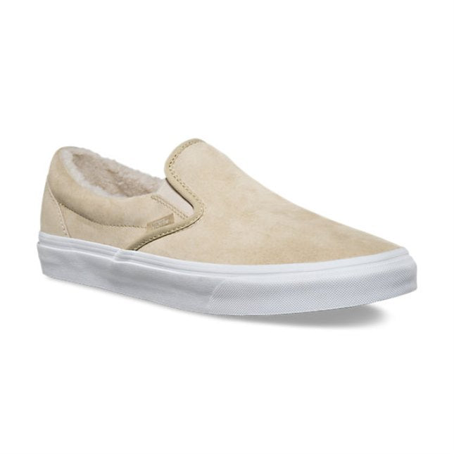 Vans Classic Slip On Suede/Fleece Khaki/True White Men's Skate Shoes Size 8
