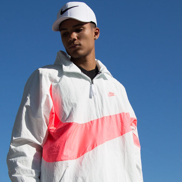 Nike Air Jordan Wings Anorak White/Pink Pullover Wind Jacket Size 2XL