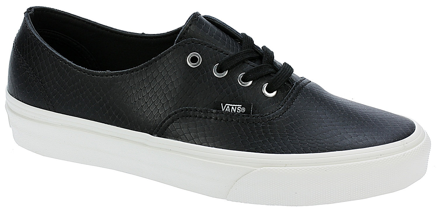 Vans Authentic Decon Leather Snake Black/Blanc Skate Shoes Size 8.5