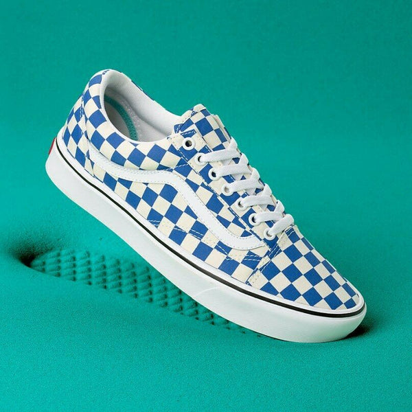 Vans Comfycush Old Skool Checker Lapis Blue/White Men's Skate Shoes Size 8.5