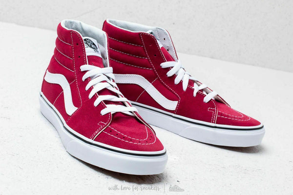 Vans SK8 Hi Rumba Red/True White Men's Classic Skate Shoes Size 8.5