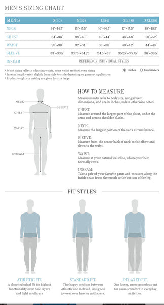 Sherpa Size Guide For Men's Clothing