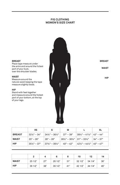 Fig Travel Clothing Women's Sizing Chart