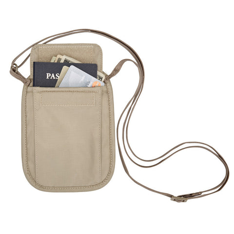RFID Blocker Neck Wallet Tan