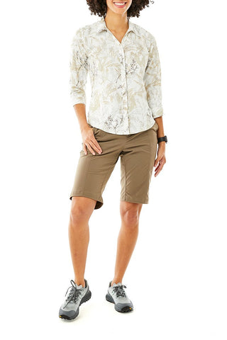 Royal Robbins Women's Discover III Bermuda Shorts in Sandstone