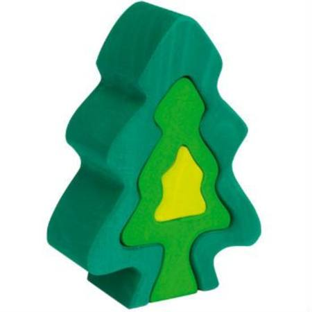 Gluckskafer Fir Tree Wooden Puzzle Blocks, 18cm high