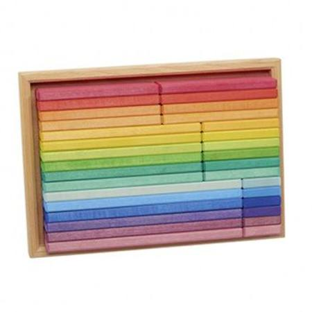 Gluckskafer Rainbow Wooden Building Slats Puzzle in Tray 32 pcs