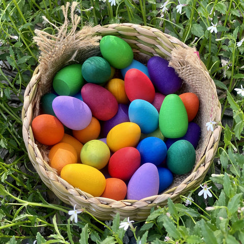 Grapat Mandala Rainbow Eggs, Box set of 36 Wooden Eggs