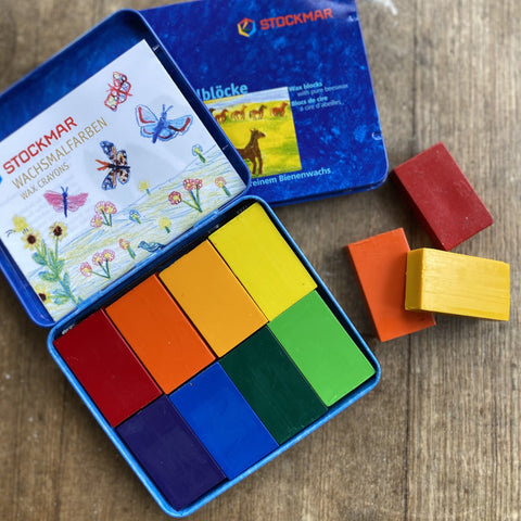 Stockmar Beeswax Block Crayons in Tin - Sydney Colour Mix (Set of 8)