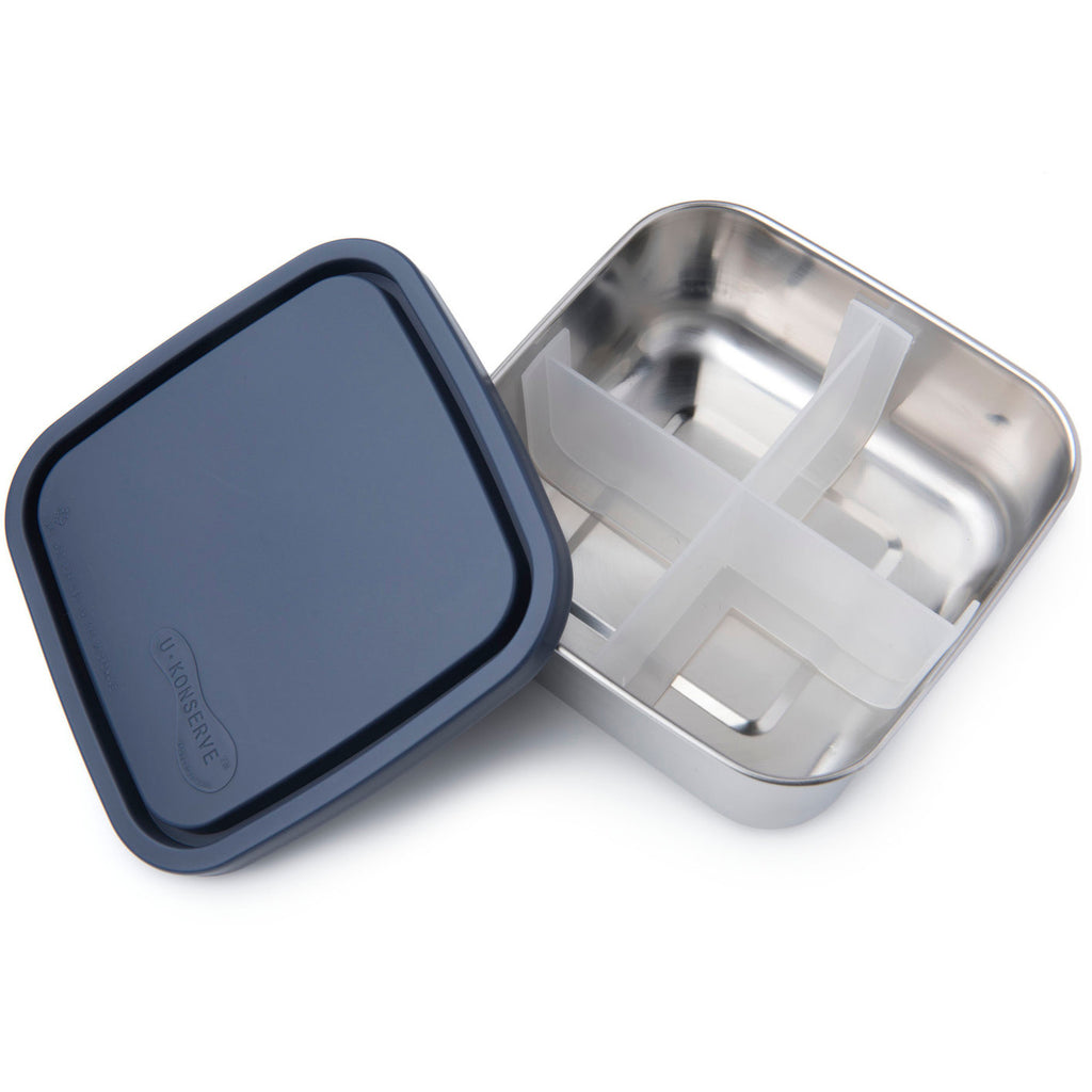 Lunchbox, U-Konserve Square with Removable Dividers & Ocean Colour Lid (Pre-Order)