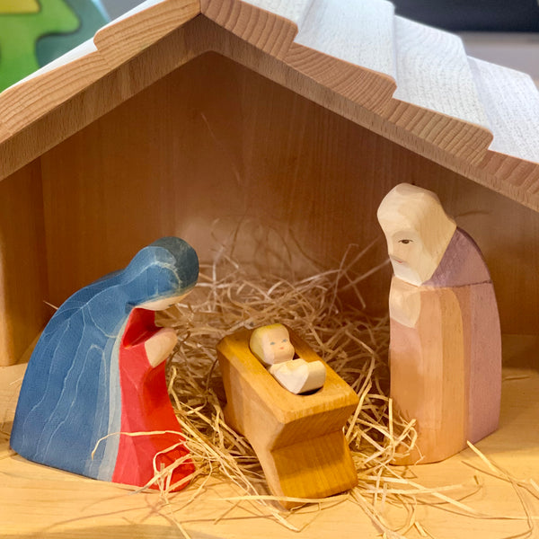 Ostheimer Wooden Nativity Figures (Set of 3 inc cradle)