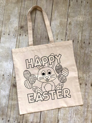 Happy Easter Coloring Tote Bag