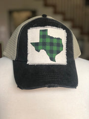 Green Plaid State Baseball Hat