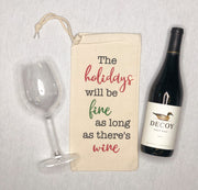 Holiday Fine with Wine Christmas Wine Bag