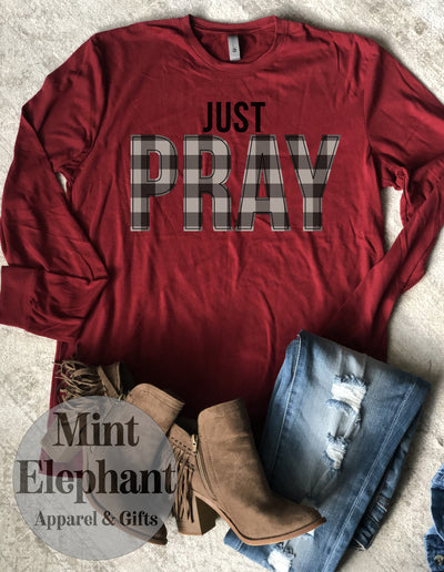 Plaid Just Pray Long Sleeve Tee