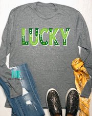 Long Sleeve Lucky hand letter short sleeve tee