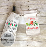 Shhh Dont Tell Santa Christmas Wine Bag Wholesale