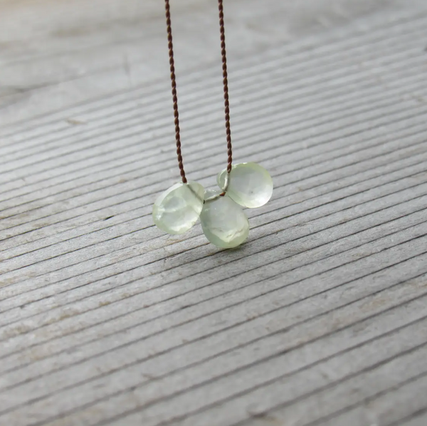 Prehnite triple stone cord necklace