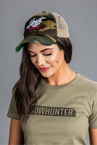 Ladies Camo Trucker Hoyt Hat