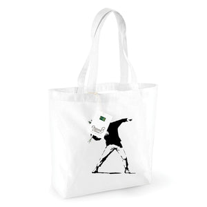 Banksy Flower Thrower Organic Shopping Bag