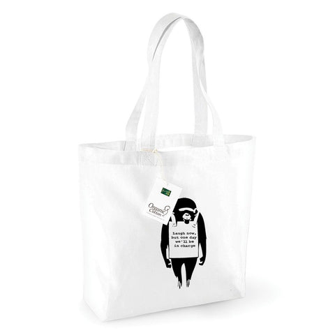 Banksy Laugh Now Monkey Organic Shopping Bag