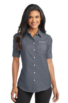 Port Authority - Ladies Short Sleeve SuperPro Oxford Shirt with Pocket