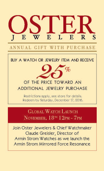 Oster Jewelers Annual Holiday Gift With Puchase