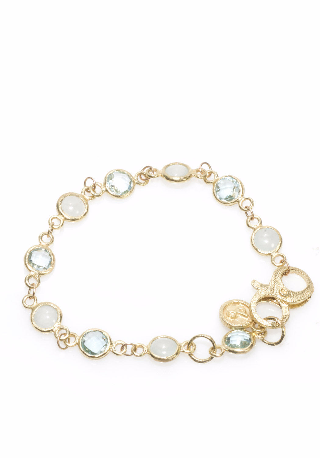 Dominique Cohen Blue Topaz & Aqua Bezel Set Bracelet