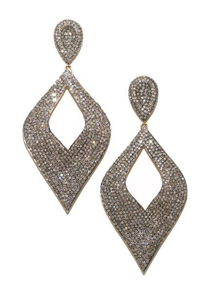 Mo & Me Diamond Pave Cutout Drop Earrings