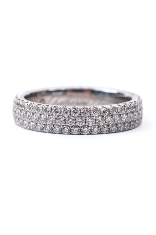 Handmade in USA 14k White Gold .08ctw Diamond Trendy Stackable Ring Size 6