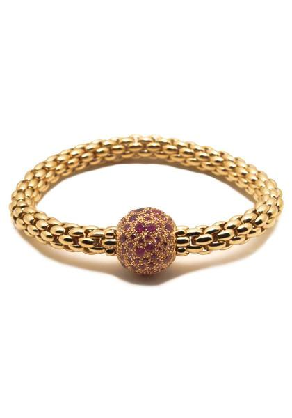 FOPE Pink Sapphire & Diamond Flex'It  Ball Bracelet 405B BZAFM