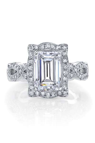 Bella's Love .94ctw Emerald Cut Semi-Mount Ring