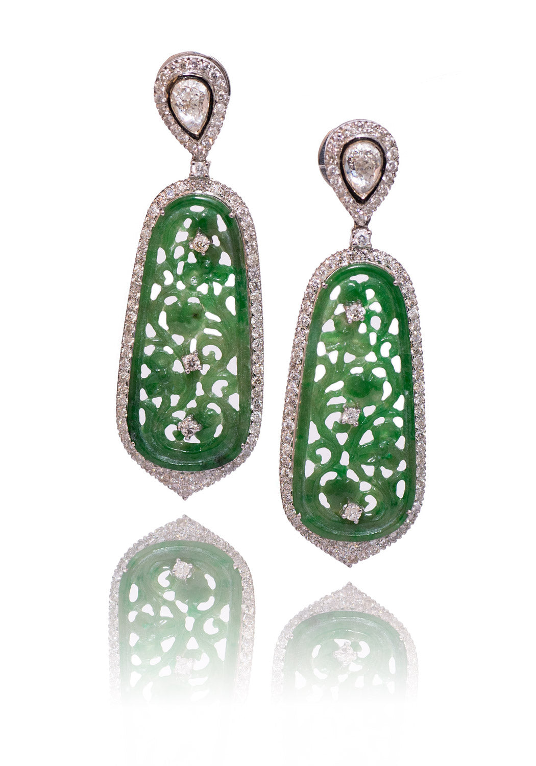 Mo & Me White Sapphire, Diamonds & Jade Earrings