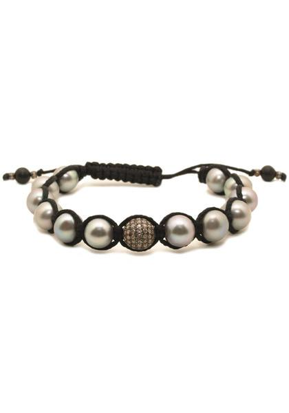 Mo & Me Diamond & Grey Pearl Bracelet