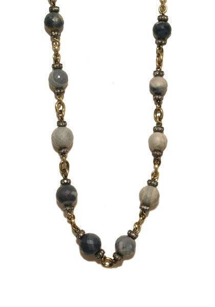 Sylva & Cie Faceted Opal Bead Necklace with Diamonds