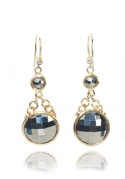 Dominique Cohen Faceted Pyrite Retro Drop Earrings